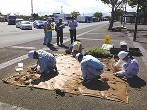 富岳館高校の生徒と炎天下での作業