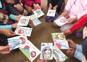 子どもたちの描いた絵はがき